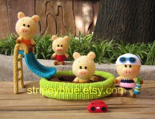 Amigurumis que son juguetes para los peques, cerditos bañándose