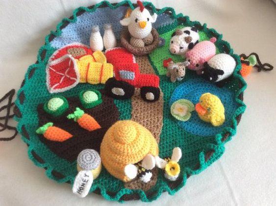 Granja con animalitos en crochet