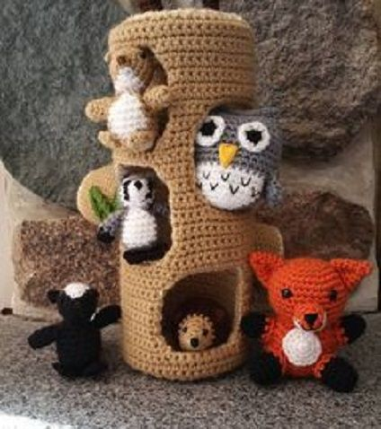 Tronco con animalitos en crochet