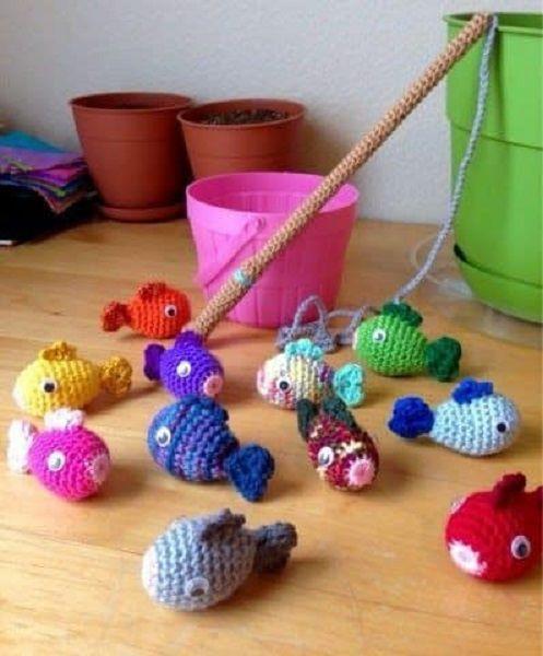 Juego, pescar pececillos en crochet