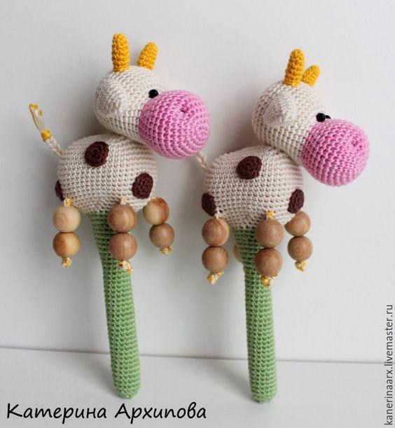 Sonajeros de vacas en crochet