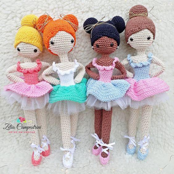 Cuatro bailarinas de ballet amigurumis