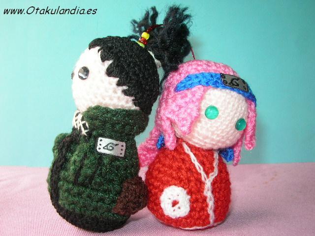 Sikamaru y Sakura amigurumis