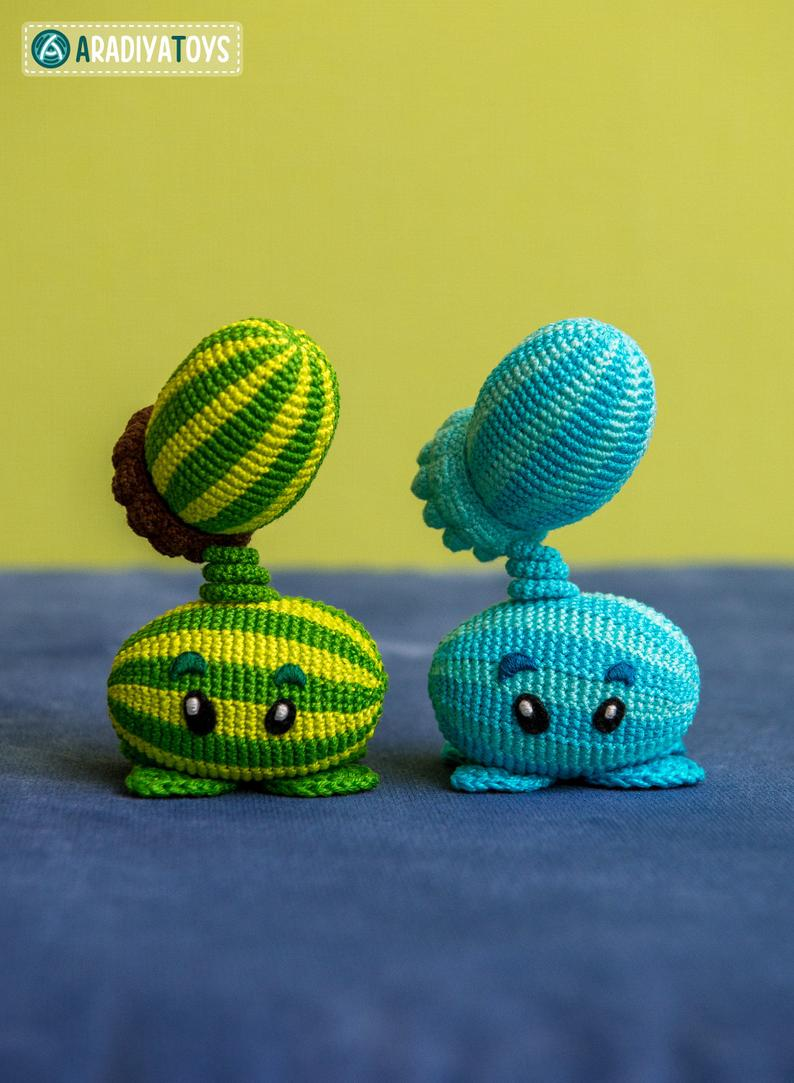 Melon-pult y Winter Melon, amigurumisde Plants vs Zombies