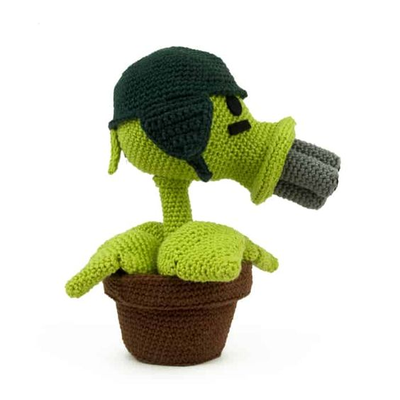 Plants vs zombies - amigurumi Guisante Gatling