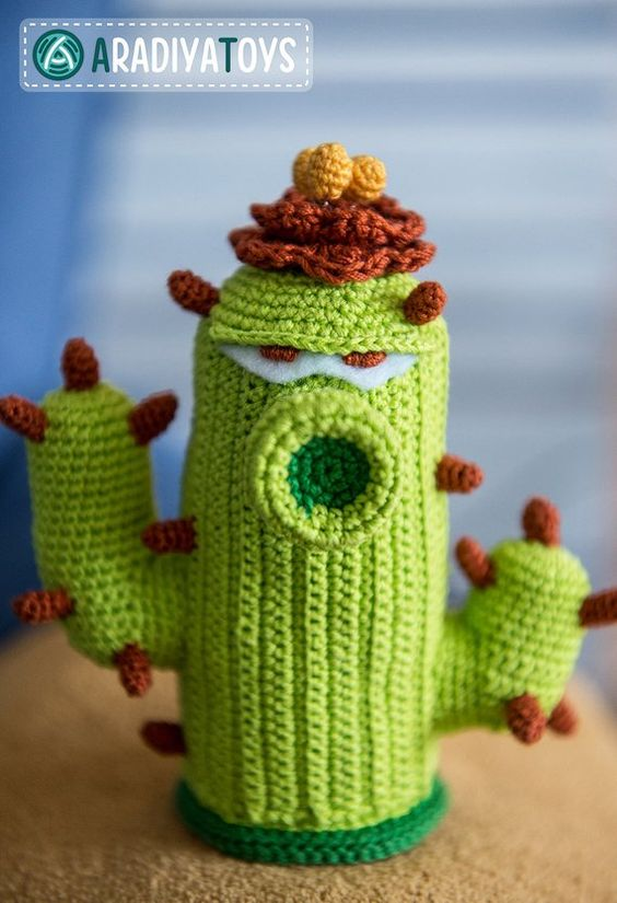Planta cactus amigurumi de Plants vs Zombies