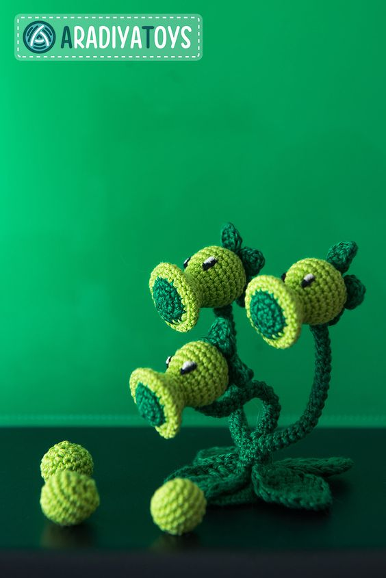 Threepeater amigurumi de plants vs zombies
