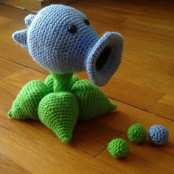Snow Pea Shooter, amigurumi de plants vs zombies