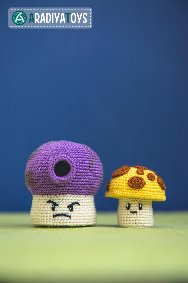 Sun y Fume Shrooms, amigurumis de Plants vs Zombies