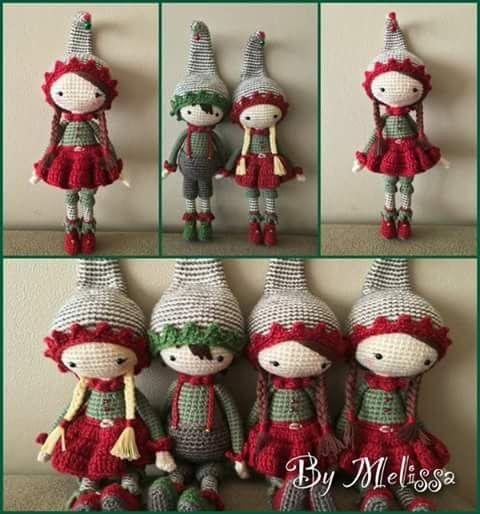 Familia de elfos navideños en crochet