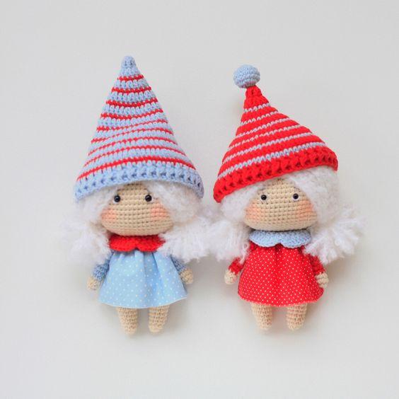2 Duendecitas de Navidad vestiditas para la fiesta