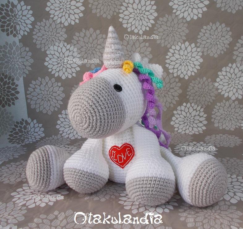 unicornio blanco gigante crochet