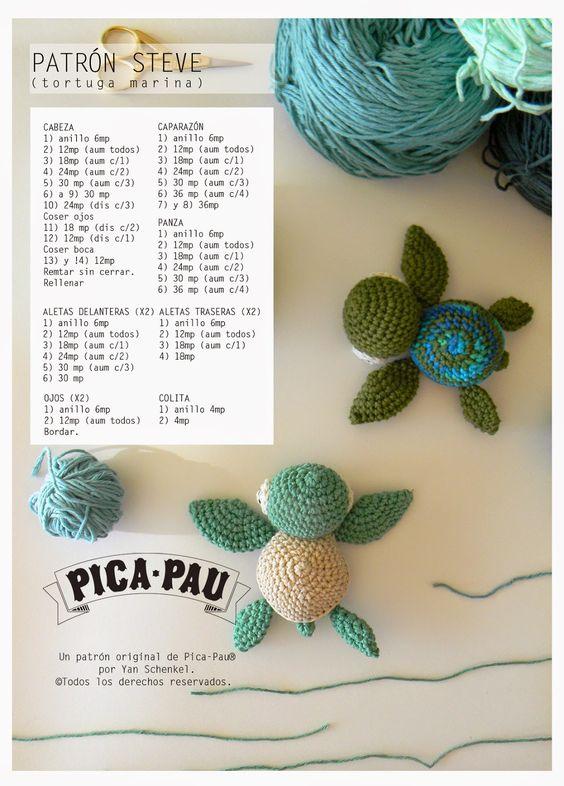 patrón tortuguitas marinas crochet